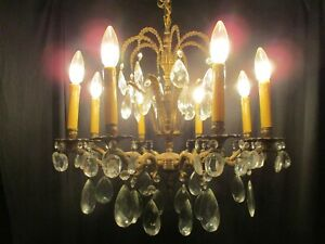 Vintage Chandelier Fabulous Brass Crystal Light Fixture Elegant French Style