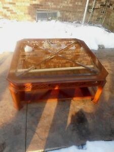 Mid Century Modern Designer Mahogany Smoke Glass Coffee Table Mcm
