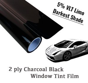 24 x50 Ft Limo 5 Vlt Charcoal Black Window Tint Film Uncut Roll Darkest Shade