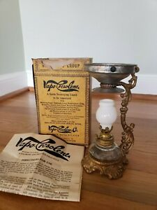 Antique Vapo Cresolene Kerosene Lamp Vaporizer 6 1 4 Tall Complete With Box