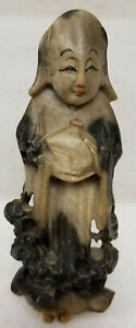 Antique Vintage Chinese Carved Soapstone Deity Immortal Lohan Figure Statue