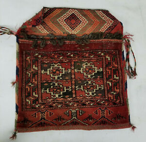 Antique Turkoman Persian Afghan Rug Carpet Bag Tribal Wool Turkish