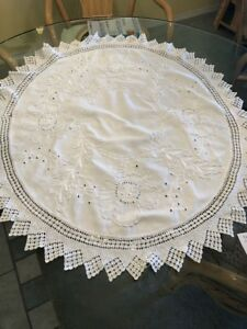 Antique Hand Sewn Embroidered White Tablecloth 3 Crocheted Lace 28 X 31