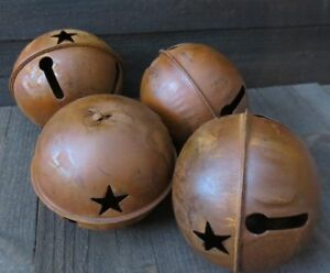 4pc Lot Huge 7 Inch Rusty Jingle Bell Primitive Decor Rustic Country Star Rusted