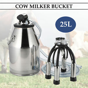 25l Stainless Steel Dairy Cow Milker Milking Machine Bucket Tank Barrel
