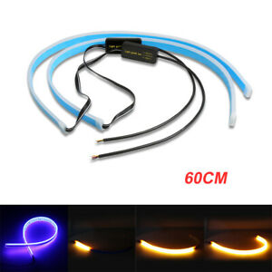2x 60cm Blue And Amber Drl Flexible Turn Signal Led Light Strip Lamp Headlight