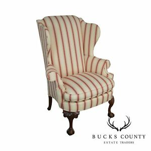 Southwood Chippendale Style Mahogany Ball Claw Wing Chair