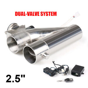 2 5 Inch 63mm Exhaust Control E cut Out Dual Valve Electric Y Pipe With Remote