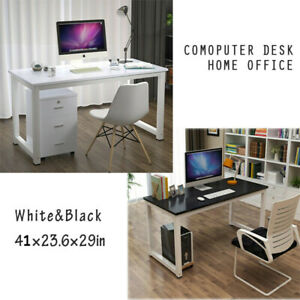Wooden Computer Table Study Desk Pc Laptop Workstation Home Office Black white