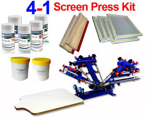 4 Color Screen Printing Kit Adjustable Printer With Frame Ink Squeegee Supplies