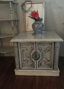 Solid Wood Antique End Table With Storage