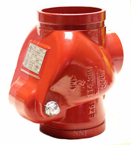 6 Resilient Swing Check Valve Grooved Ends Ductile Iron Fire Protection 300psi