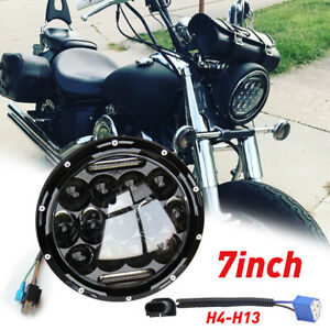 Dot Black 7 Inch Round Led Headlight For Dyna Touring Electra Glide Motorcycle