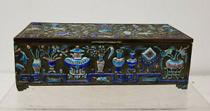 Antique Chinese Enameled Silver Plate Cigarette Holder Box Scholar S Objects