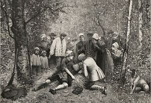 Doctor Aiding Hunter Who Collapsed In Woods Large 1880s Antique Print