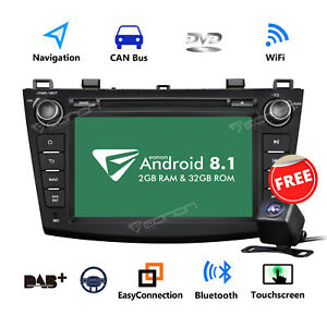 Us For Mazda 3 10 13 8 2 Din Android 8 1 Car Gps Stereo Radio Dvd Dab Obd Cam