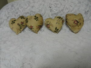 4 Primitive Grungy Heart Bowl Fillers Ornies White W Pink Roses Valentine S
