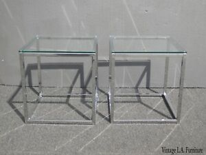 Pair Of Chrome Modern Square End Tables W Glass Tops