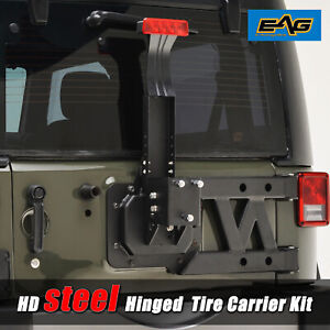 07 18 Jeep Wrangler Jk Hinged Spare Tire Carrier With Third Brake Light Bracket