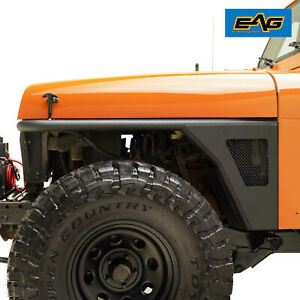 Eag Front Fender Flares Rocker Guard Rock Metal Tube Fit 87 95 Jeep Wrangler Yj