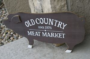 Big Pig Meat Market Sign Primitive French Country Kitchen Farmhouse Barn Decor