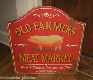 Pig Farmers Meat Market Sign Primitive French Country Kitchen Farmhouse Decor