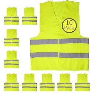 10 Pack Yellow Reflective High Visibility Safety Vest Construction Traffic