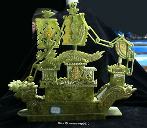 38cm China Natural Dushan Jade Hand Carved Animal Dragon Boat Sculpture Aiqo