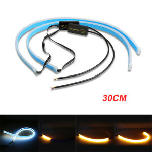 2x 30cm White And Amber Drl Flexible Turn Signal Led Light Strip Lamp Headlight