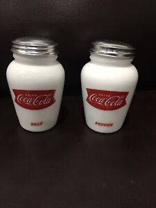 Coca Cola Salt and Pepper Shakers Milk White Glass Soda Vintage Look