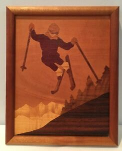 Vtg 1987 Marquetry 9 X11 Picture Of Skier Wood Frame High Quality Mint