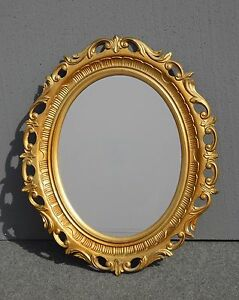 Vintage French Provincial Style Gold Floral Oval Wall Mirror Syroco Style