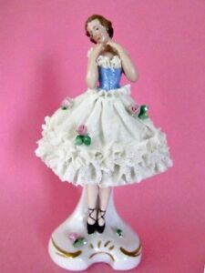 Ballerina On Toes Puffed Dresden Lace Tutu W App Flowers Volkstedt Germany