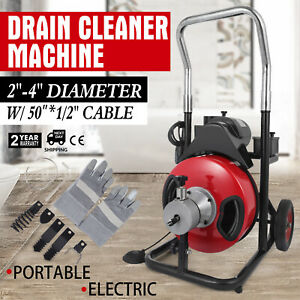 50ft 1 2 Drain Pipe Cleaner Machine Electric For 2 4 Pipeline Commercial