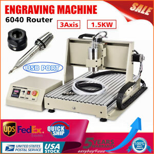 Usb 6040 Router Engraver 3axis 1 5kw Milling Machine Metalworking Drill Carving