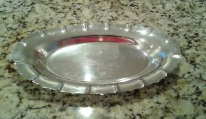 Vtg Early American International Silver Co 2360 Serving Dish Tray Holiday Party
