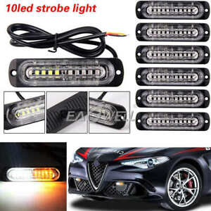 6pc Amber White 10led Car Emergency Beacon Warning Hazard Flash Strobe Light Bar