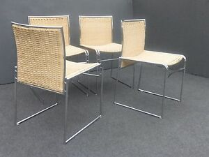 Set Of Four Vintage Mid Century Contemporary Modern Chrome Wicker Chairs