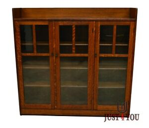Limbert Antique Quartersawn Oak Mission Style Three Door Bookcase B