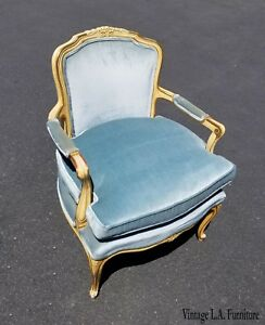 Made By Kindel Vintage French Provincial Blue Velvet Accent Chair