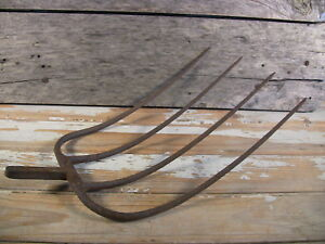 Antique Pitchfork Hay Fork Cast Iron Farm Tool Hand Forged Rustic Garden Decor A