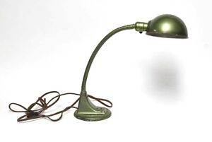 Vintage Industrial Large Green Goose Neck Desk Lamp Metal Shade