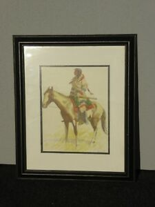 Vintage Frederic Remington Picture Print American Indian Horse A Breed 1956