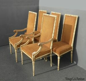 Set Four Vintage French Provincial Orange Striped Dining Chairs Five Chairs