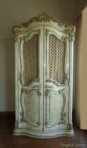 Vintage French Provincial Ornate Rococo Off White Armoire Wardrobe Italian Style