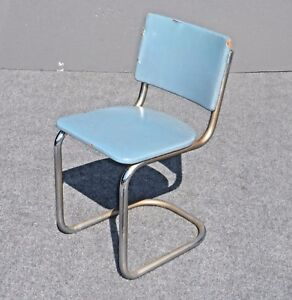 Vintage Retro Tubular Chrome Chair With Turquoise Blue Vinyl Upholstery