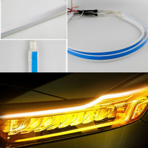2x 30 45 60cm Amber Flexible Ribbon Style Led Light Strip Signal Side Marker 12v