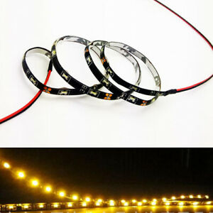 2x Amber 30cm 12 335 Smd Car Led Slim Side Emitting Strip Light Flexible 12v