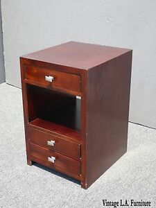 Vintage Baker Furniture Three Drawer Solid Wood Two Tier Nightstand