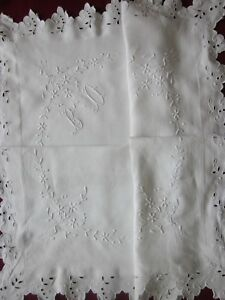 Antique French Linen Fil Scalloped Edges Pillow Case With Soufflet Bd Monogram